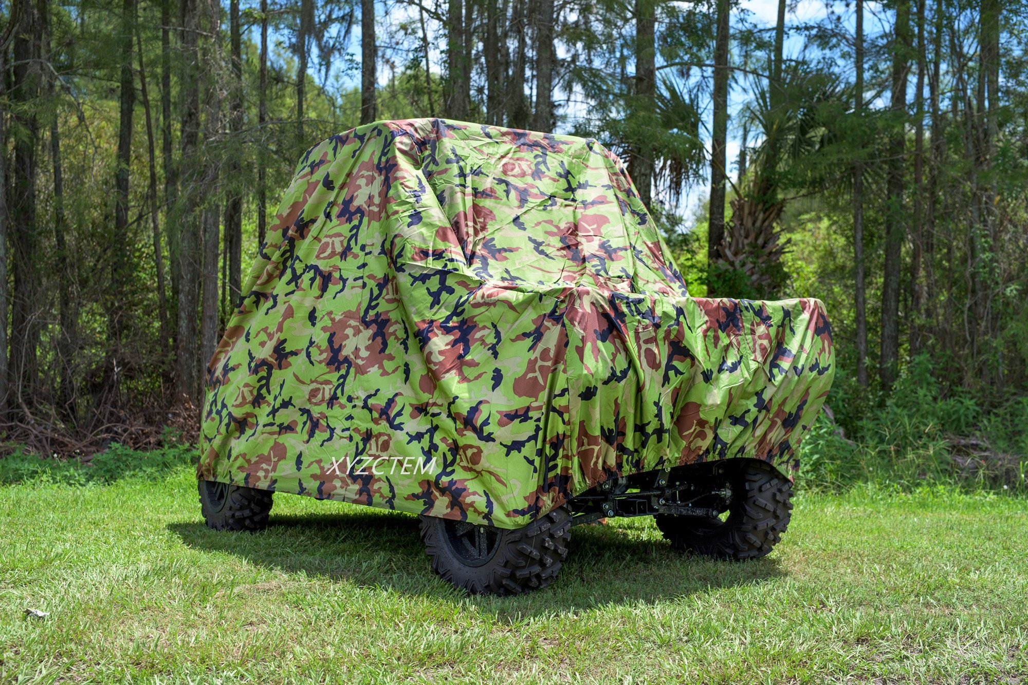 XYZCTEM UTV Cover with Heavy Duty Oxford Waterproof Material, 114.17'' x 59.06'' x 74.80'' (290 150 190cm) Included Storage Bag. Protects UTV From Rain, Hail, Dust, Snow, Sleet, and Sun (Camo) by XYZCTEM (Image #6)