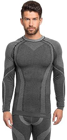 Ladeheid Herren Funktionsunterwäsche langarm Shirt thermoaktiv 05 21w (Grau,  XS)