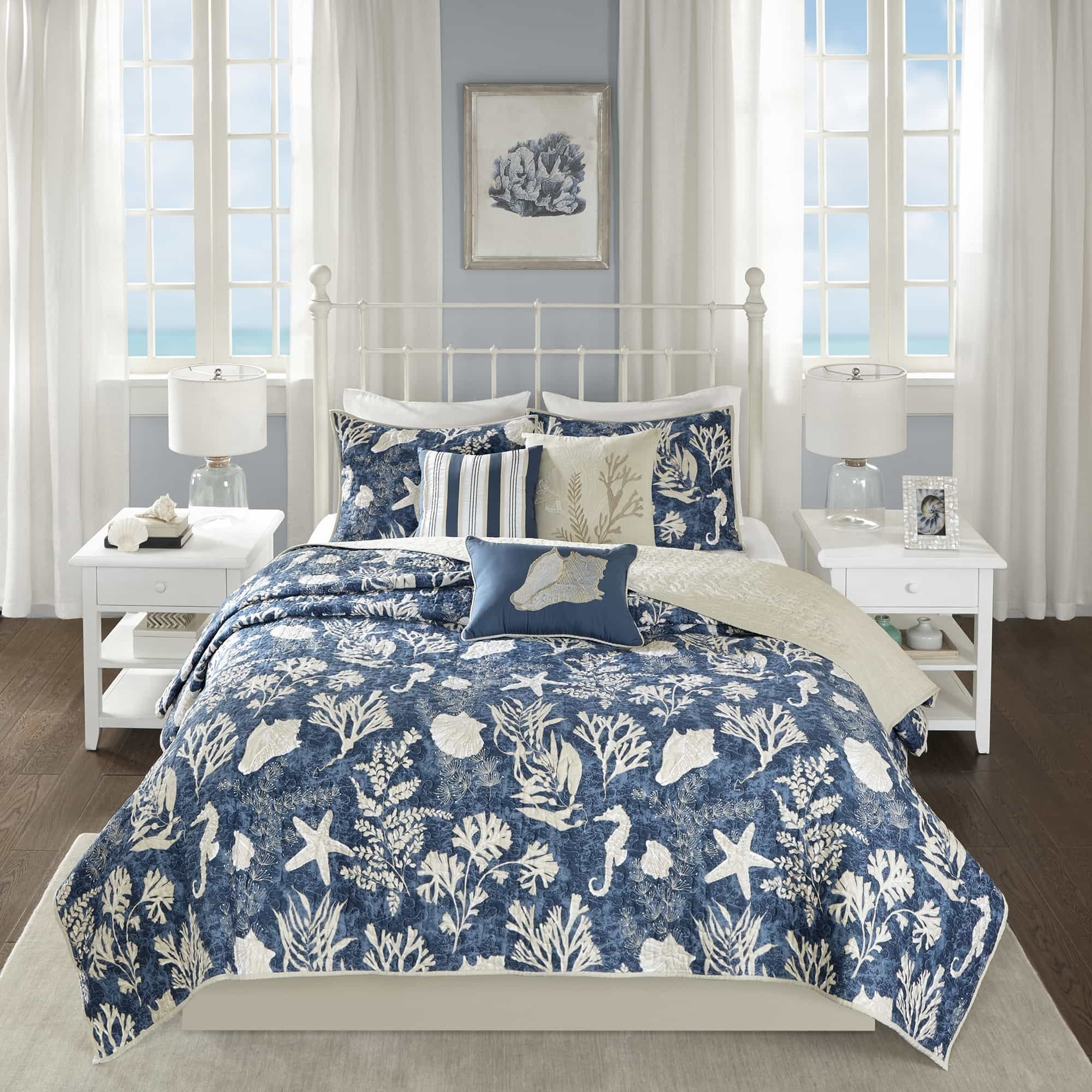 6 Piece Underwater Sea Creatures Theme Coverlet Set Full/Queen Size, Printed Coastal Coral Reefs Seahorse Sea Shells Starfish Bedding, Whimsical Rich Nautical Design, Fun Animals Pattern, Navy, Ivory