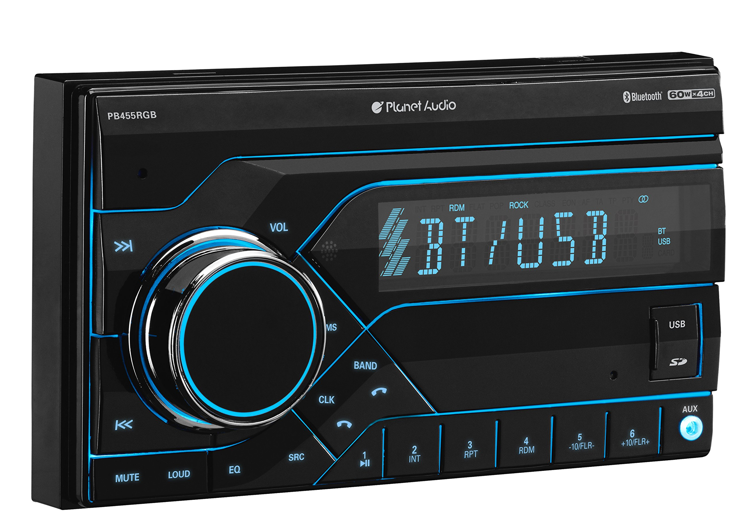 Planet Audio PB455RGB Car Stereo - Double Din, Bluetooth, MP3/USB (No CD/DVD) AM/FM Radio, Multi Color RGB Illumination, Wireless Remote