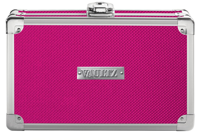 "Vaultz Locking Supplies & Pencil Box with Key Lock, 5""x 2.5""x 8.5"", Pink (VZ00774)"