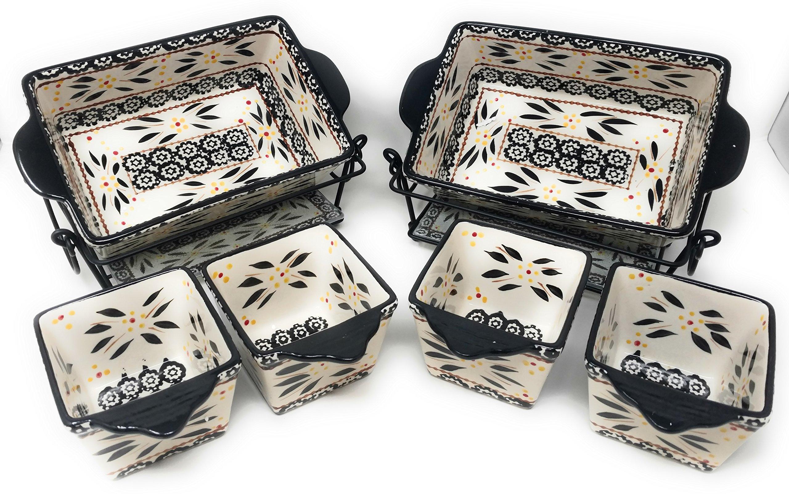 Temp-tations 6pc Mini Bakers - TWO 1.5Qt Loaf Pans & FOUR 10oz Ramekins (Old World Black)