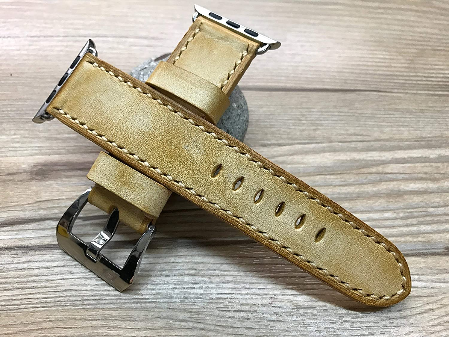 Apple Watch Band, Apple Watch 44mm, Apple Watch 40mm, Apple Watch Space Gray, Stainless Steel Gold, Series 5, Vintage waxed Leather Watch Strap for Apple Watch 38mm & Apple Watch 42mm, iWatch
