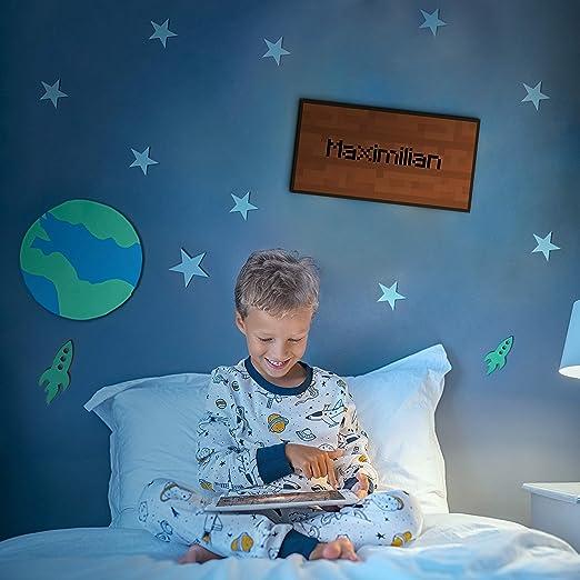 Elbeffekt Holzschild personalisierbares Geschenk f/ür Jungen Bilder Kinderzimmer Jungen Bild Pixel Art schenke individuell aus Echtholz