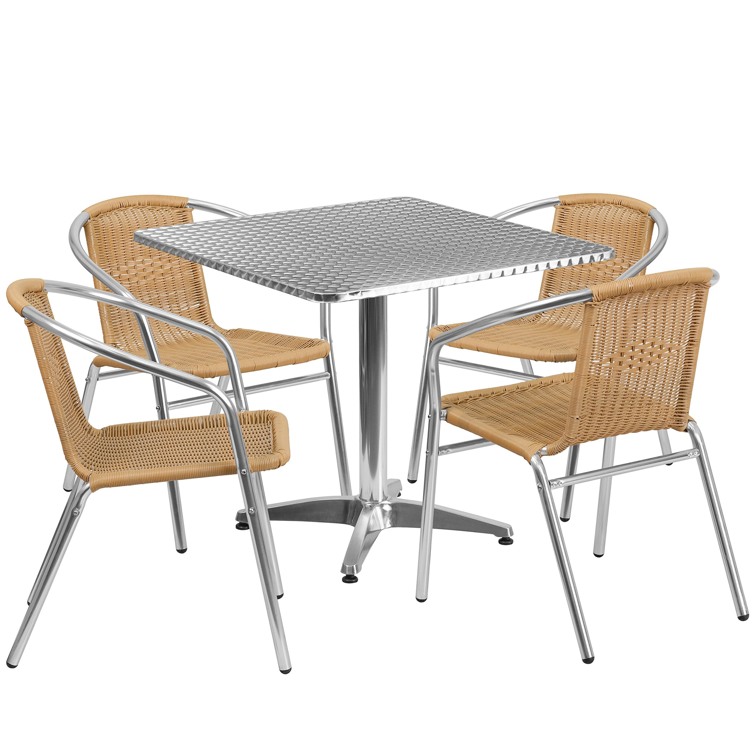 Flash Furniture 31.5'' Square Aluminum Indoor-Outdoor Table Set with 4 Beige Rattan Chairs