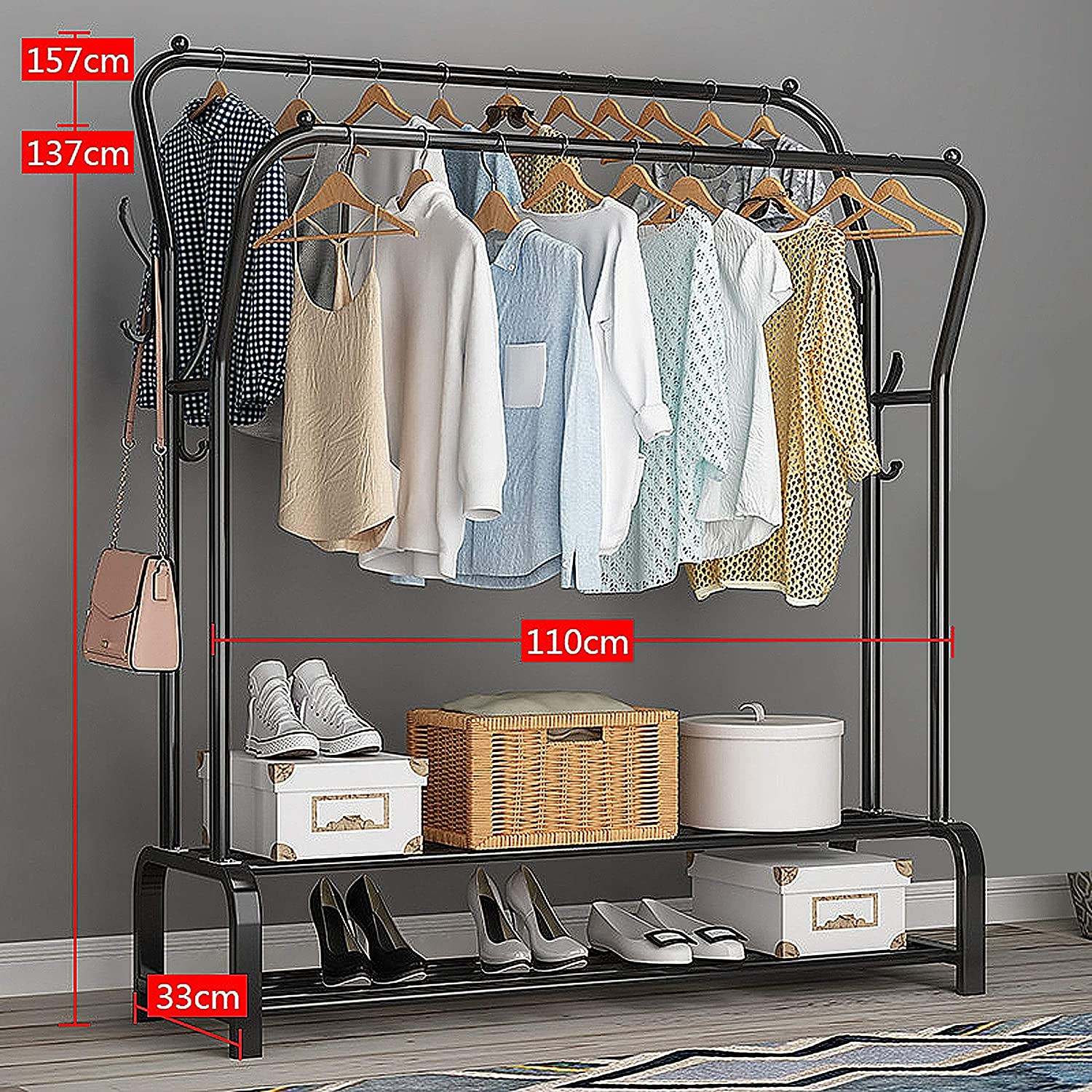 Metal Garment Rack Single Hanging Rod Garment Closet Organizer Rack Clothes Rack Heavy Duty Coat Racks Hanger with Two Storage Shelf Easy to Assemble Closet Space L43/×W13/×H59 White