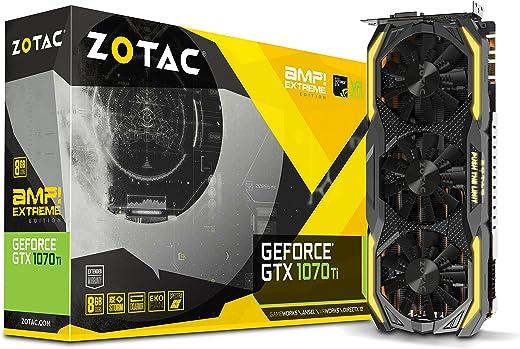zotac GeForce GTX 1070Ti Amp الشديد 8جيجا بايت GDDR5256-bit Gaming icestorm التبريد ، مزدوج الشفرة eko يصنعها المشجعون من الكربون exoarmor ، سبيكترا الإضاءة ، powerboost zt-p10710b-10p