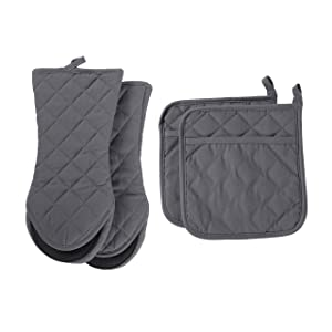 ARCLIBER Oven Mitts and Potholders,4PCS Heat Resistant Kitchen Gloves,Cotton Lining Neoprene Non-Slip Rubber Surface 2 Oven Mitts,2 Pot Holders for Cooking,Baking,Grilling,Barbecue,Grey