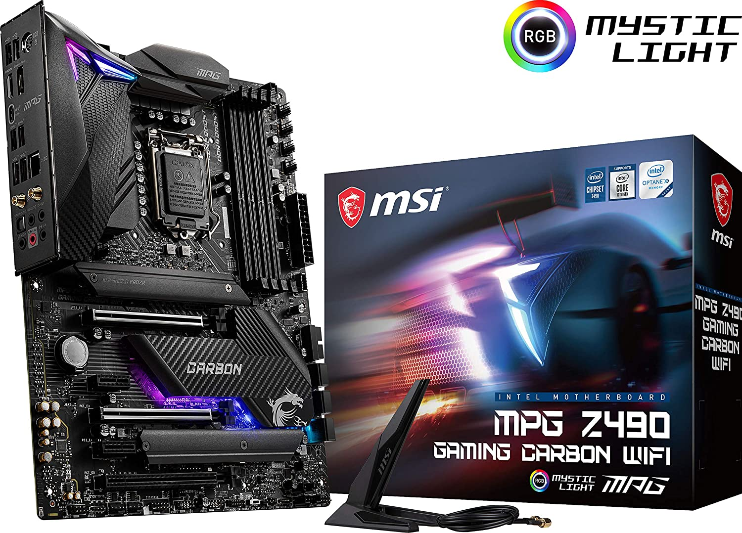 MSI MPG Z490 Gaming Carbon WiFi Gaming Motherboard (ATX, 10th Gen Intel Core, LGA 1200 Socket, DDR4, SLI/CF, Dual M.2 Slots, USB 3.2 Gen 2, Wi-Fi 6, DP/HDMI, Mystic Light RGB)