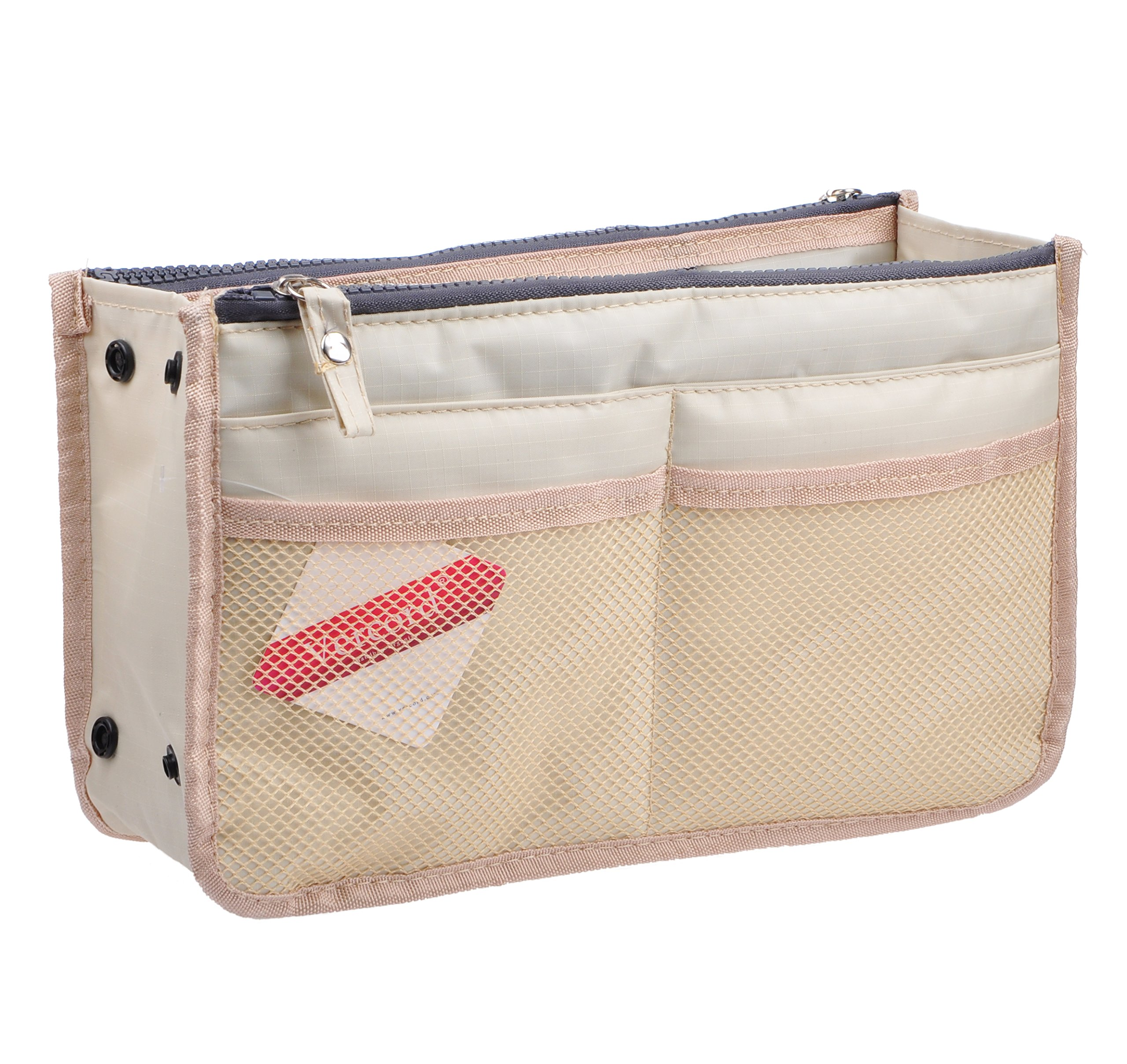 Vercord Updated Purse Handbag Organizer Insert Liner Bag in Bag 13 Pockets 3 Size, Milky Beige L