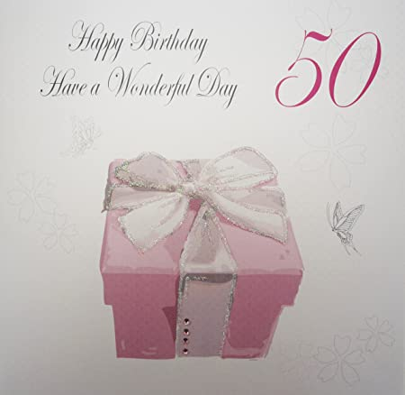WHITE COTTON CARDS Happy Wonderfu Day Handmade Large 50th Birthday Card Pink Present Amazoncouk Kitchen Home