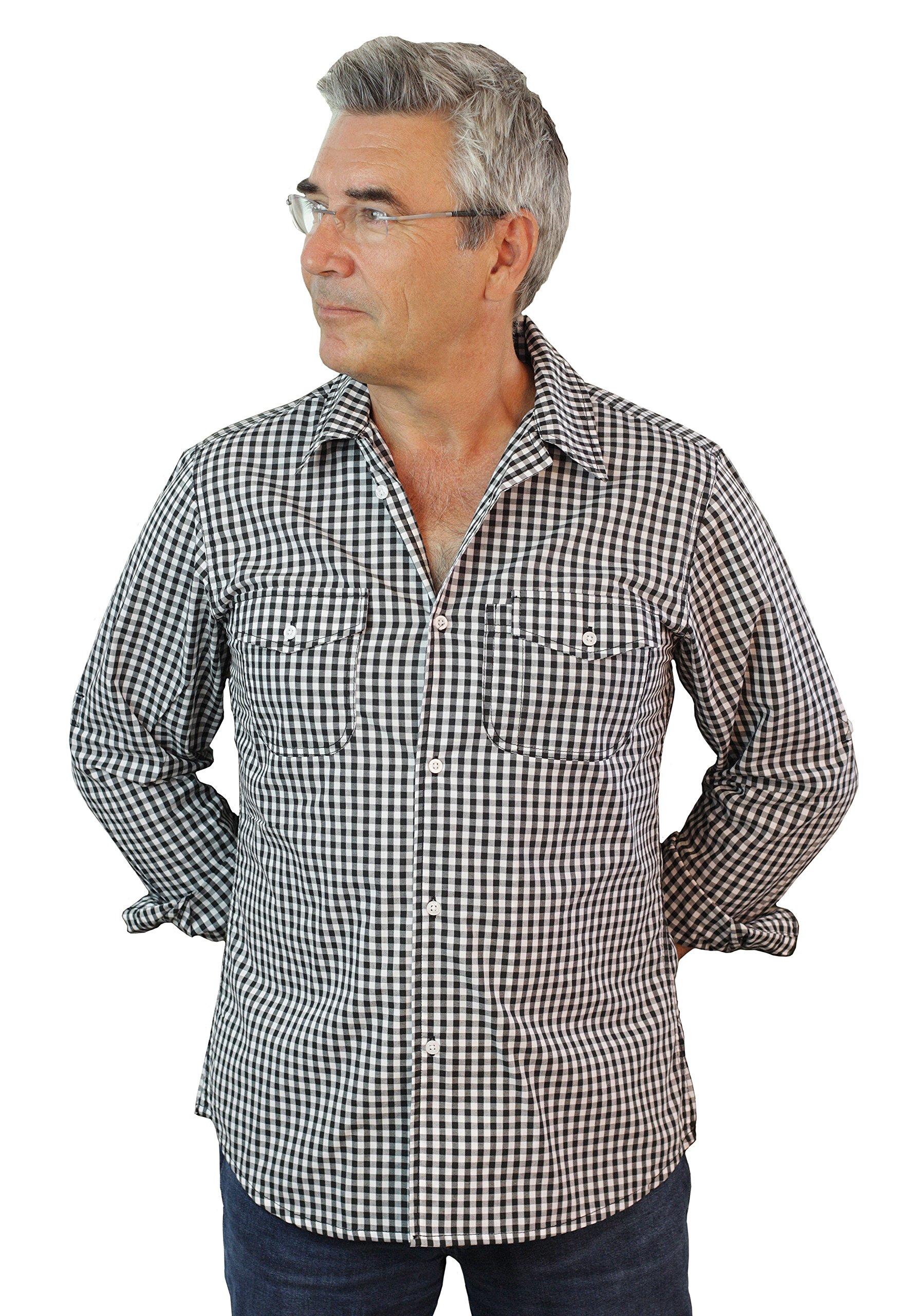 ASD Living Long Sleeve Server Waitstaff ShirtBlack/White, Extra Large, Gingham