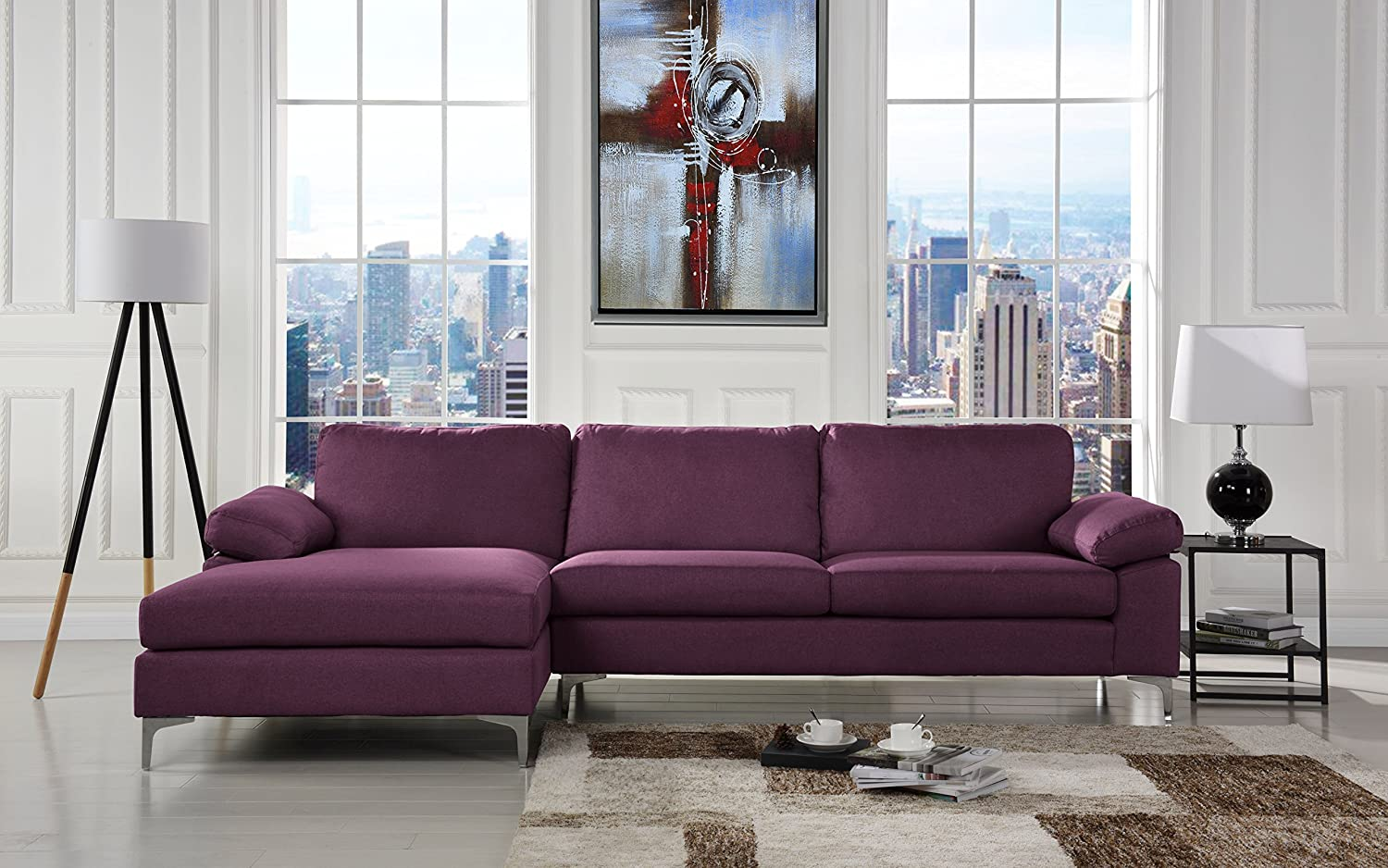 Modern Large Linen Fabric Sectional Sofa, L-Shape Couch with Extra Wide Chaise Lounge (Purple) Sofamania EXP173-FB