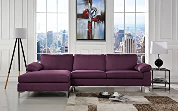 Modern Large Linen Fabric Sectional Sofa, L Shape Couch With Extra Wide  Chaise Lounge