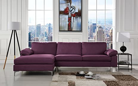 Modern Large Linen Fabric Sectional Sofa L-Shape Couch with Extra Wide Chaise Lounge : extra wide chaise lounge - Sectionals, Sofas & Couches