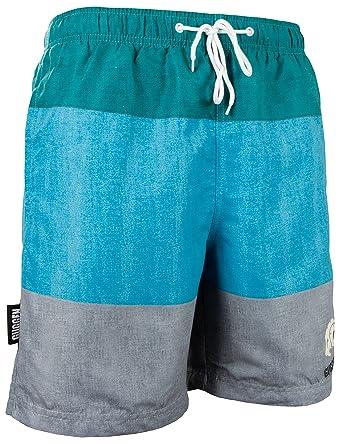 GUGGEN Mountain Herren Badeshorts Beachshorts Boardshorts Badehose  Schwimmhose Männer mit Streifen *Print* Gruen Grau
