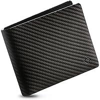 EGNT Genuine Leather Mens RFID Carbon ID Wallet Slim Credit Card Holder Minimalist (ID + Coin)