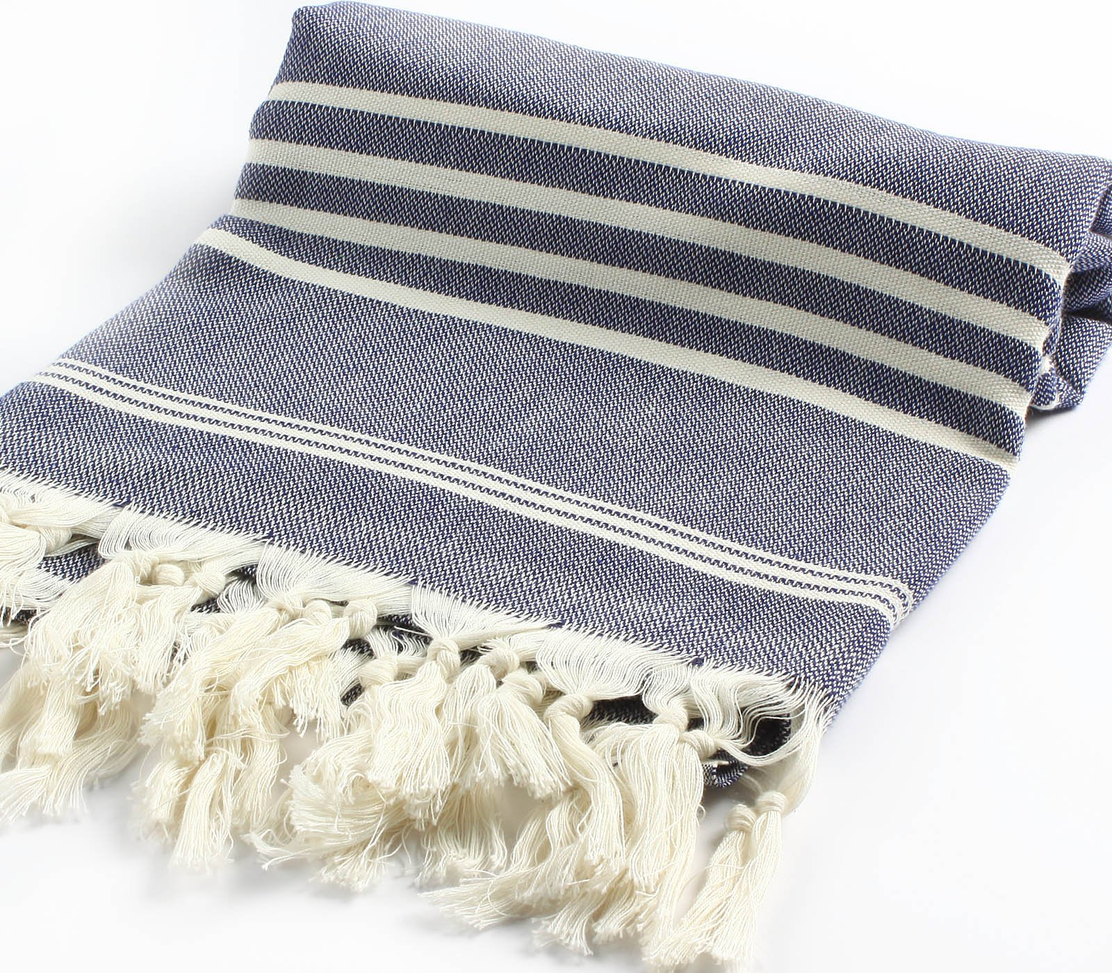 Cacala Hand Loomed Turkish Towel Pestemal Soft Cotton Darkblue - 100Percent cotton High absorption of water and quick drying-unisex-multipurpose; take less energy, water Cacala pestemal, super soft, takes up much less room in the linen closet, great for travel - bathroom-linens, bathroom, bath-towels - 91AjQssQqvL -