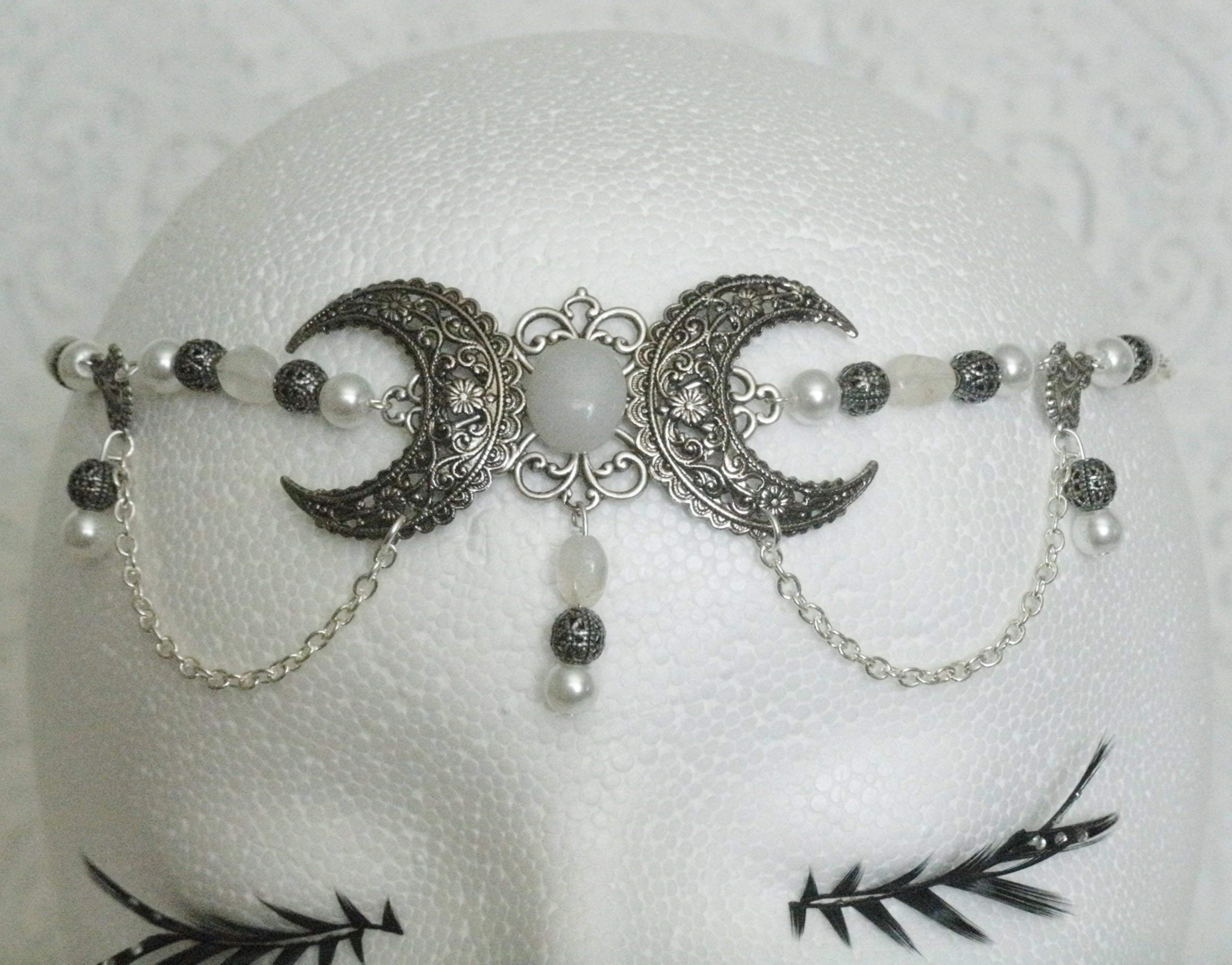 Moonstone Triple Moon Circlet handmade jewelry wiccan pagan wicca witch witchcraft goddess metaphysical handfasting