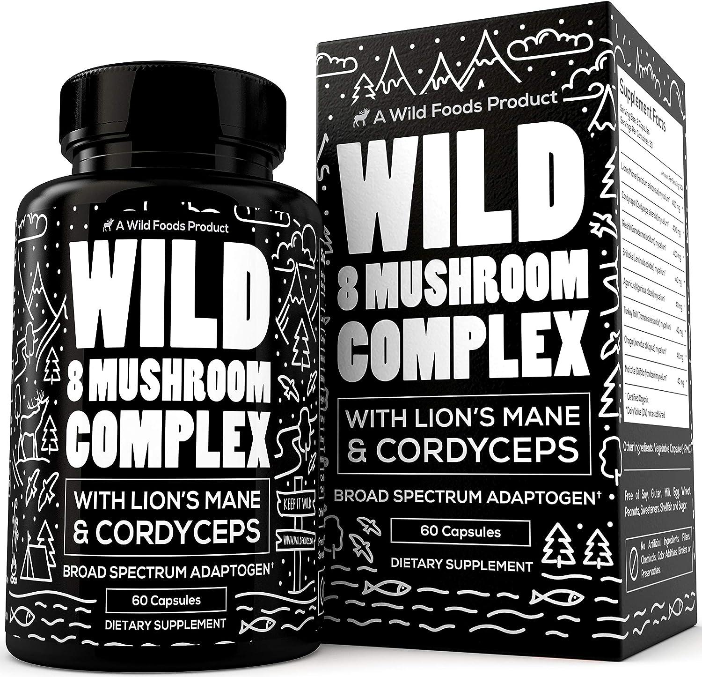 Premium Mushroom Supplement for Immune Support - 8 Organic Mushrooms Including Lions Mane, Cordyceps, Reishi - Natural Nootropic Supports Focus, Memory & Drive in Men & Women