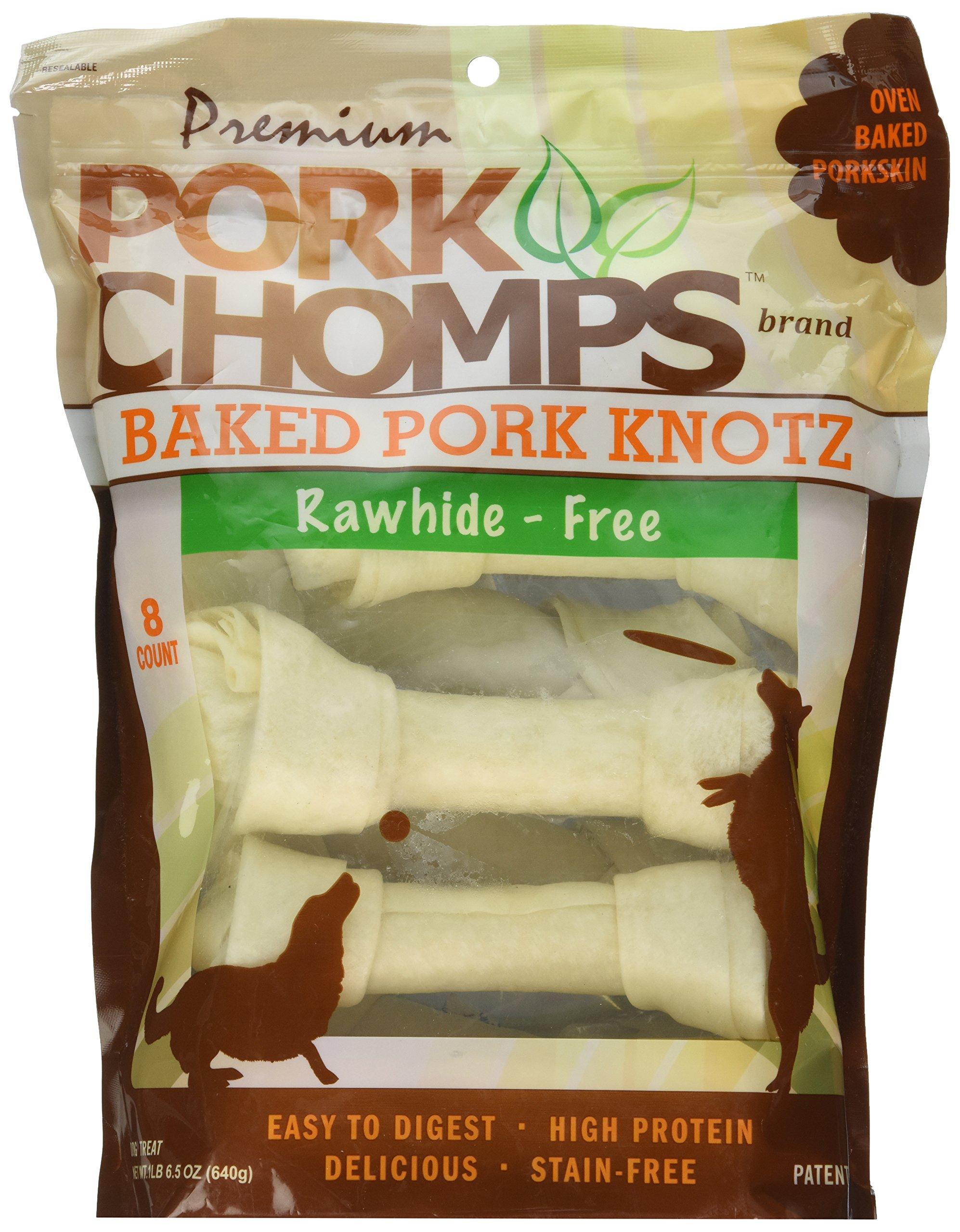 Premium Pork Chomps Baked Knotz Pork, 7'', 8ct
