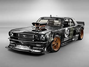 """Ford Mustang by Ken Block (1965) Car Art Poster Print on 10 mil Archival Satin Paper Black Front Side Studio View 18""""x24"""""""