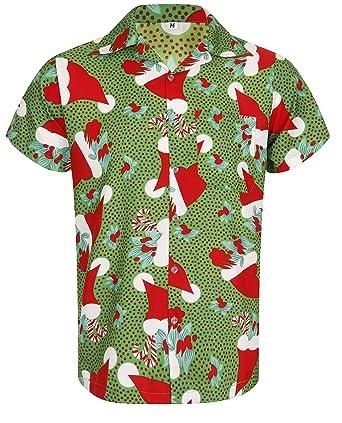 Christmas Hawaiian Shirt.Christmas Hawaiian Shirt Santa Hat Xmas Mistletoe Tree Sugar Cane Novelty Casual Design Loud Aloha Hawaii Island Holiday Dinner Stag Party T Short