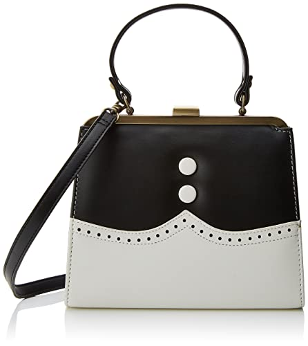 Inez, Womens Satchel, Multicolour (Black/Cream), 7x18.5x22.5 cm (B x H T) Lola Ramona