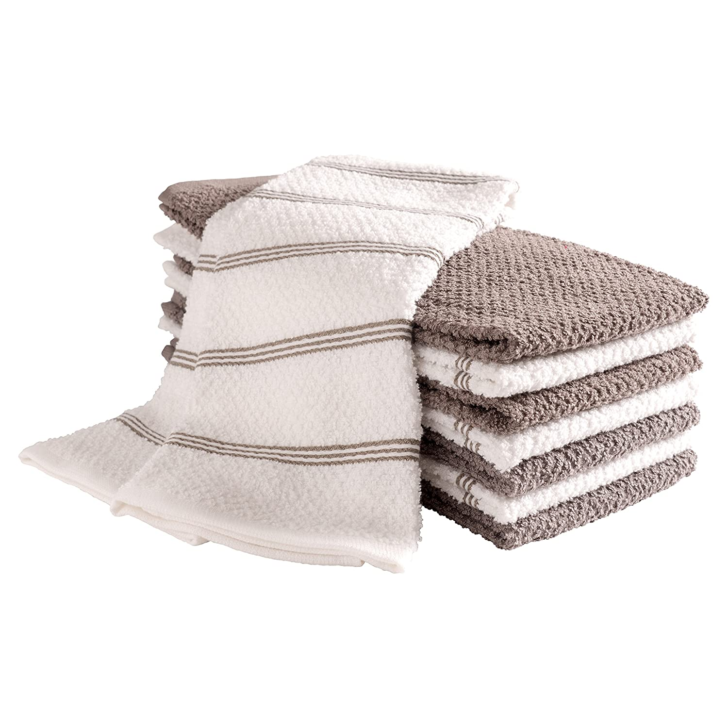 KAF Home Pantry Piedmont Kitchen Towels (Two Sets of 4, 16x26 inches), 100% Cotton, Ultra Absorbent Terry Towels - Dark Grey
