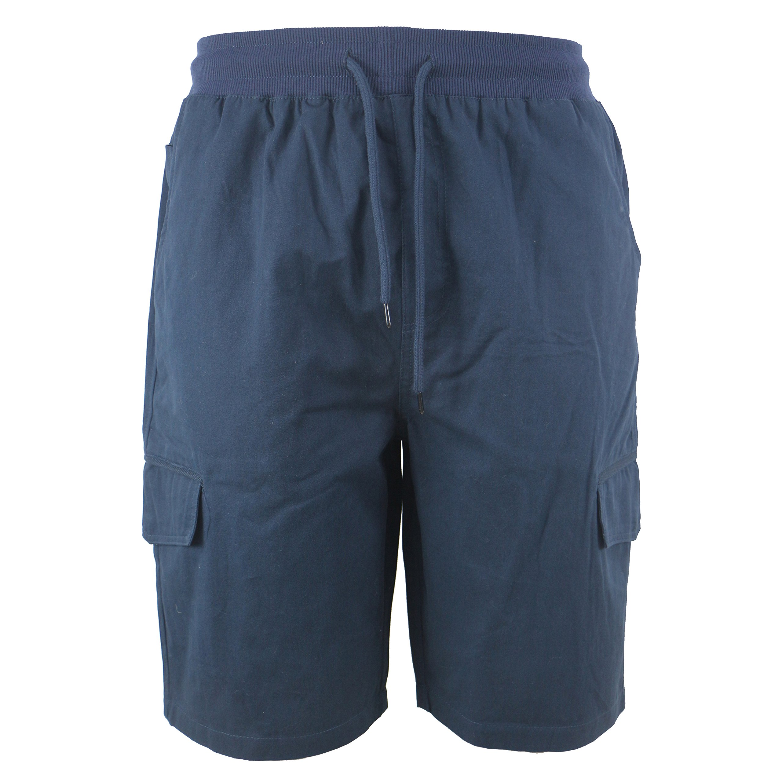 Tanbridge Men's Cotton Cargo Shorts with Pockets Loose Fit Outdoor Wear Twill Elastic Waist Shorts Navy 36