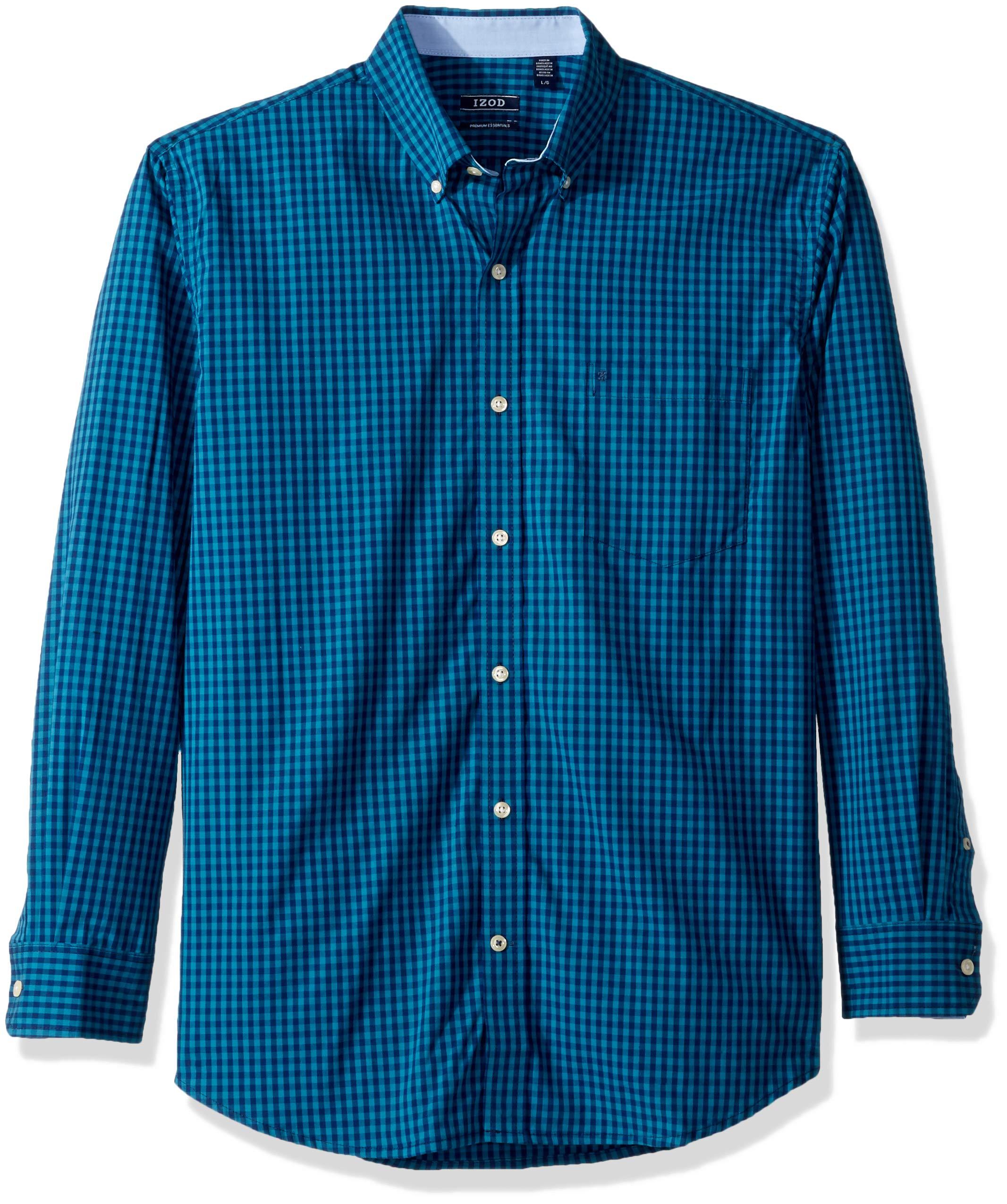 IZOD Men's Premium Essential Gingham Long Sleeve Shirt (Regular and Slim Fit), Saxony Blue, Large