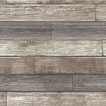 Nuwallpaper Nu3130 Peel Stick Reclaimed Wood Plank Natural Peel And Stick Wallpaper Amazon Com