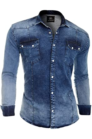 a6732e7cf60 D R Fashion Men s Thick Denim Jeans Shirt with Regular Collar and Stylish  Pockets (Small