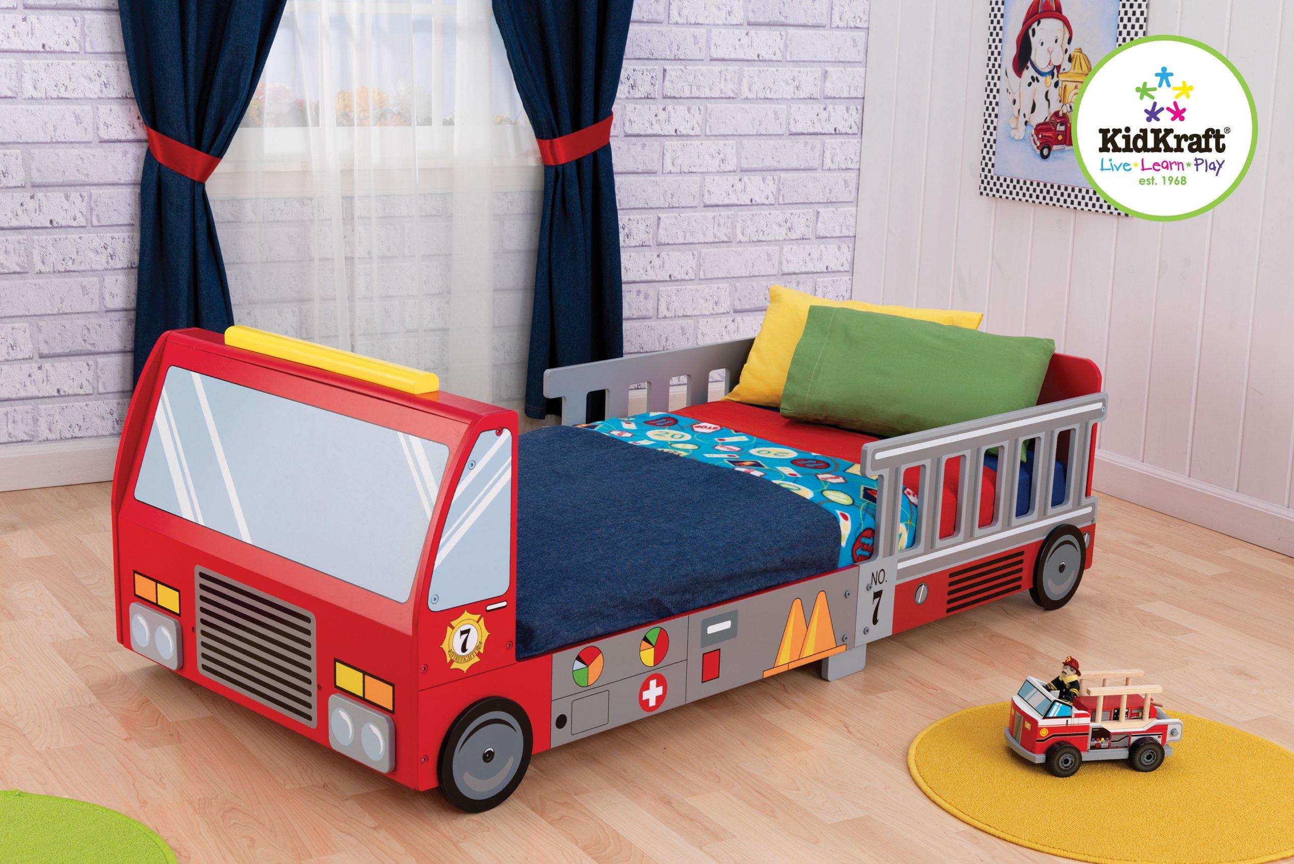 KidKraft Fire Truck Toddler Bed Red, 59.2 x 28.8 x 21