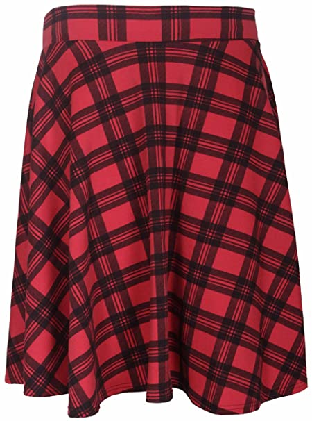 621d827850d Womens New Tartan Check Printed Ladies Stretch Elasticated Waistband Fit  Flared Skater Skirt Plus Size Red