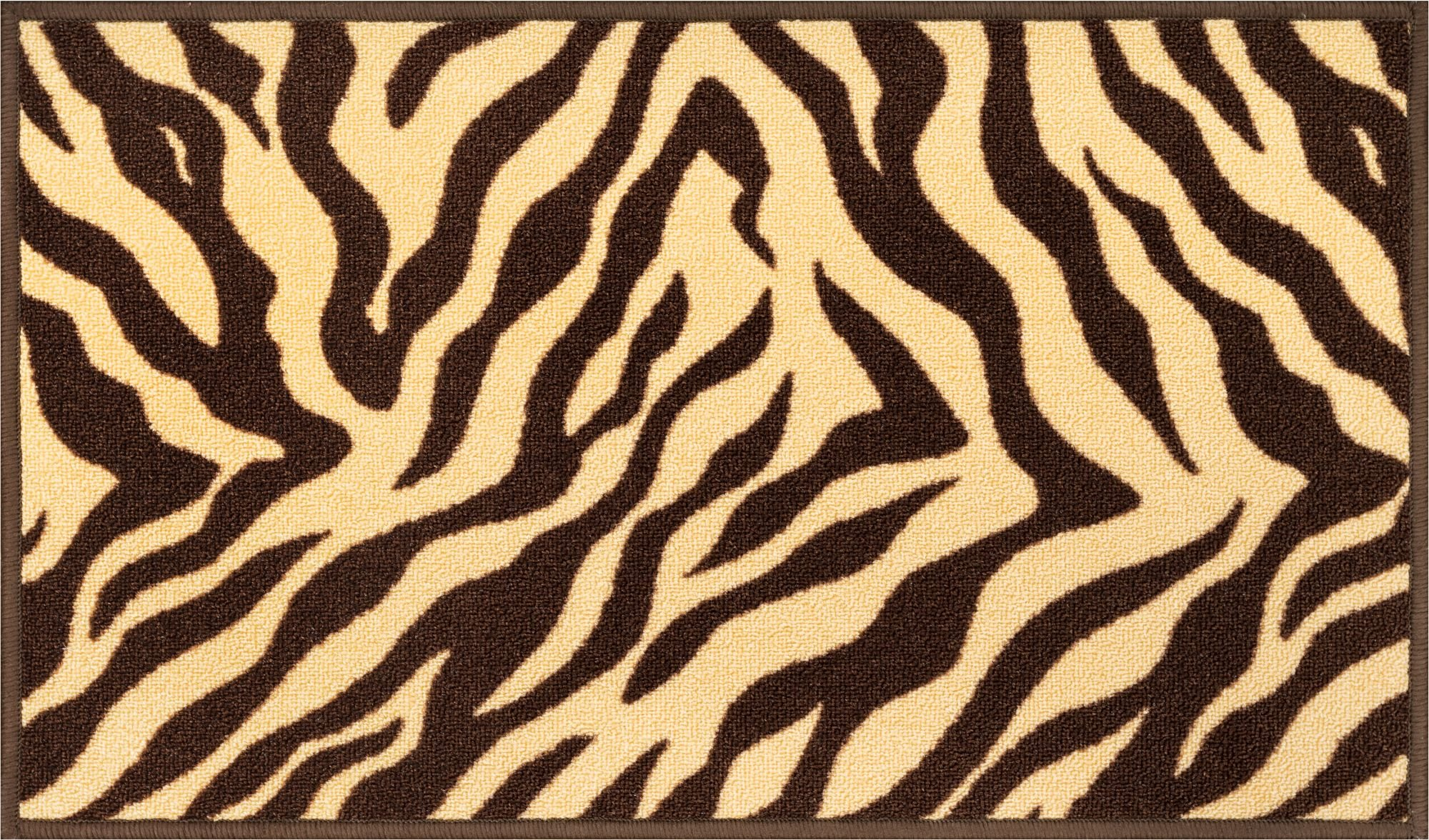 Well Woven Non-Skid Slip Rubber Back Antibacterial 2x5 (1'8'' x 5') Door Mat Runner Rug Brown Zebra Animal Print Stripes Modern Thin Low Pile Machine Washable Indoor Outdoor Kitchen Hallway Entry by Well Woven (Image #2)