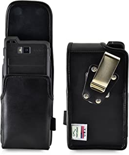 product image for Turtleback Holster Belt Case Compatible with Sonim XP8 Black Vertical Holster Leather Pouch with Heavy Duty Rotating Ratcheting Belt Clip Made in USA