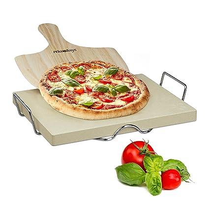 Relaxdays 10020489 Juego para Pizza, con Piedra para Asar (Cordierite, Soporte metálico Desmontable