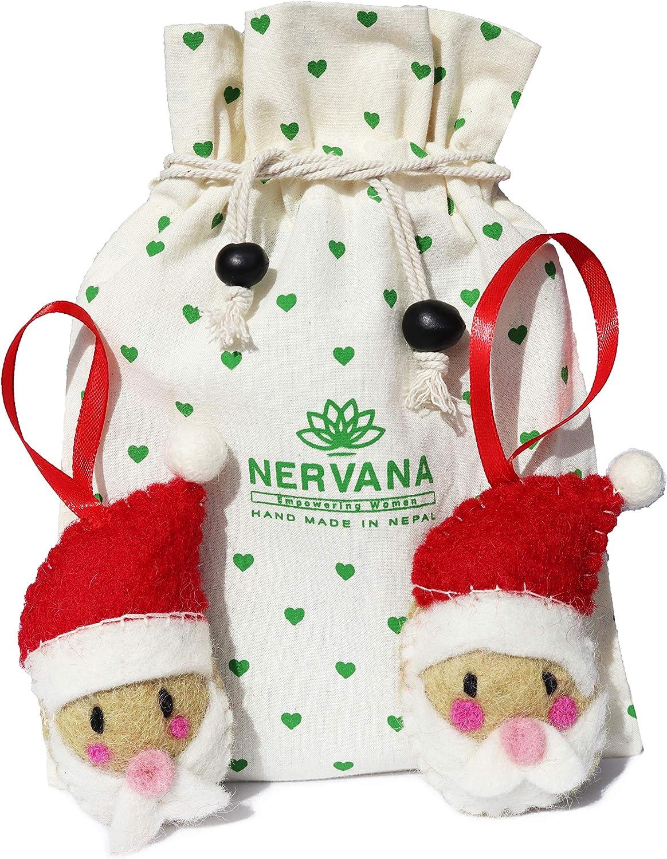 Christmas Ornaments 100% Pure New Zealand Wool Handmade Eco Friendly Christmas Decor Shower Nursery Decoration Fair Trade (2, Santa Claus)