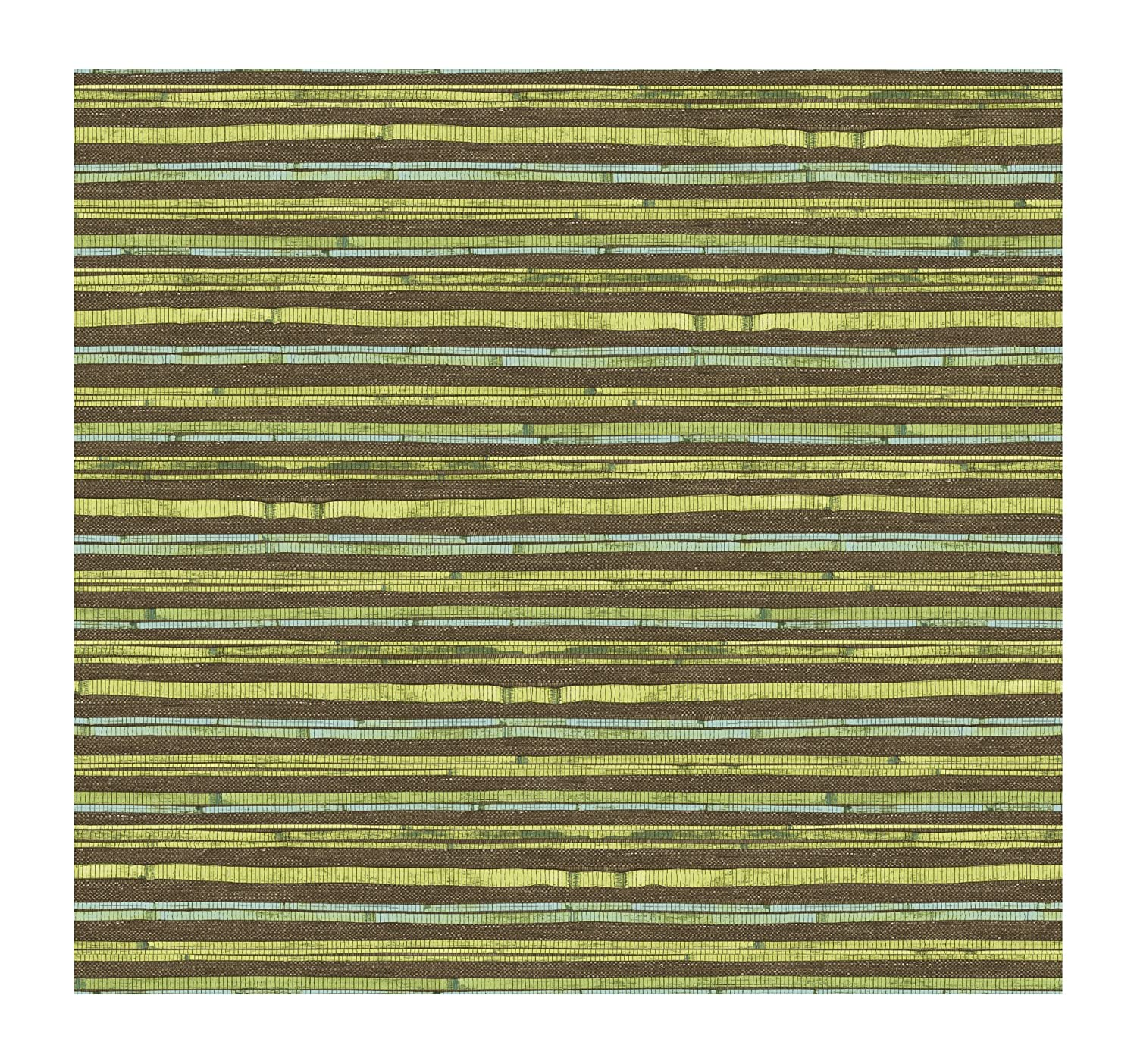 Green//Blue//Brown York Wallcoverings AC6097SMP by The Sea Woven Bamboo 8 X 10 Wallpaper Memo Sample
