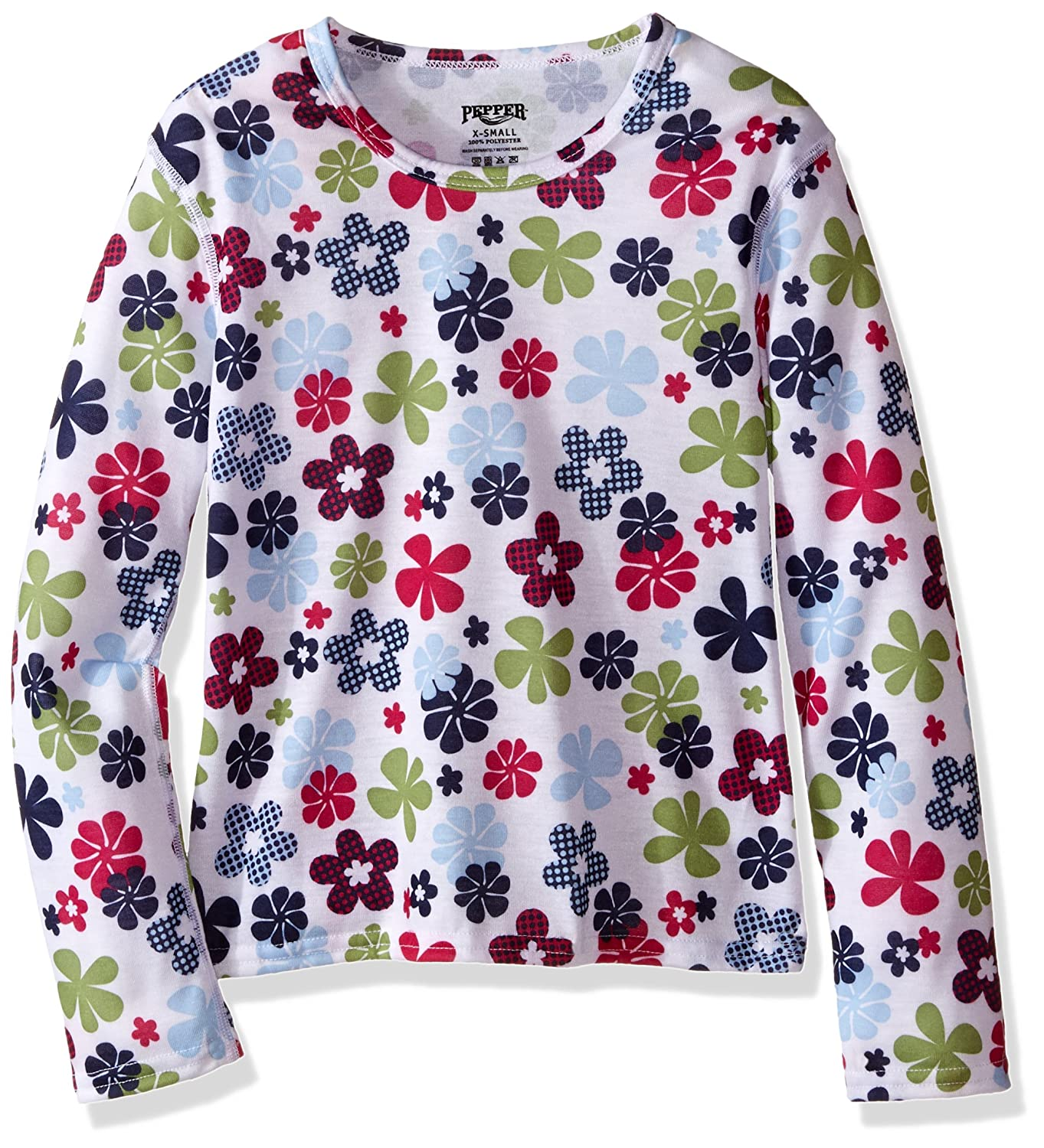 Large Flower Power Hot Chillys Youth Pepper Skins Print Crewneck