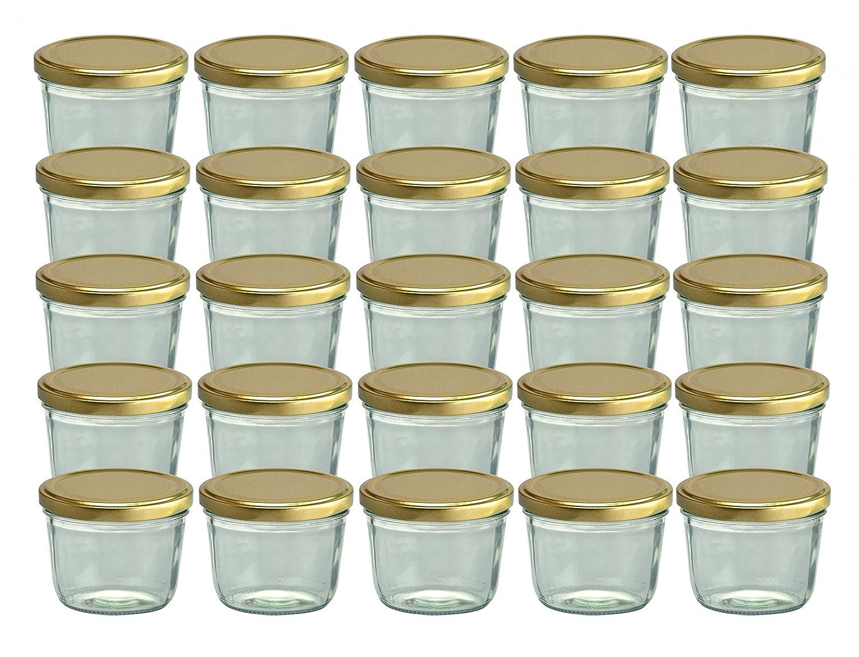 Set da 25 vasetti in vetro, per marmellate e conserve, 230 ml, coperchio avvitabile dorato, 82 mm CapCro