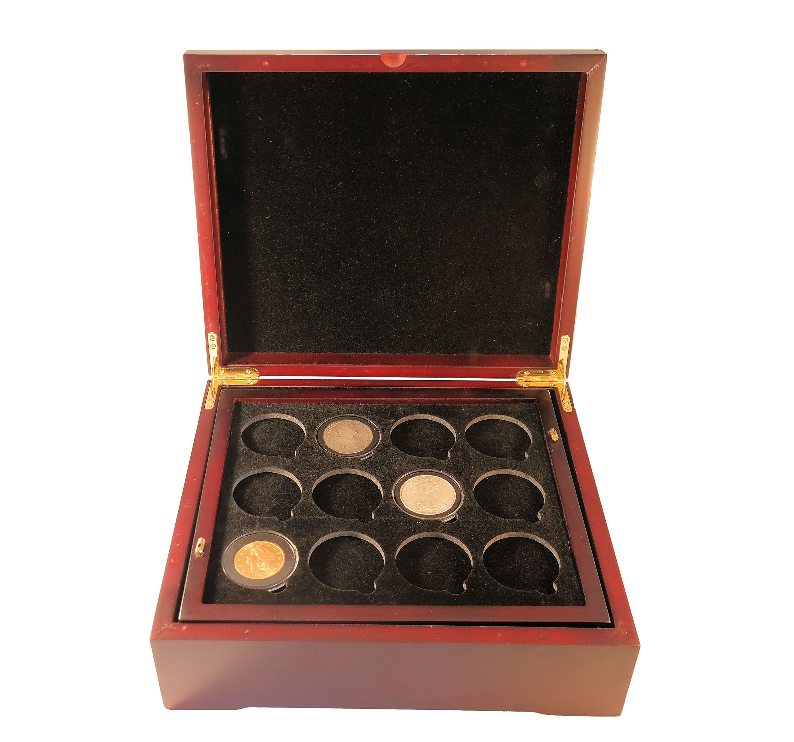 Coin Tray for 12 Extra Large or Air-Tite ''I'' Capsules / 2'' Challenge Coins fits in Mahogany Finish Wood Display Case by Guardhouse (Image #7)