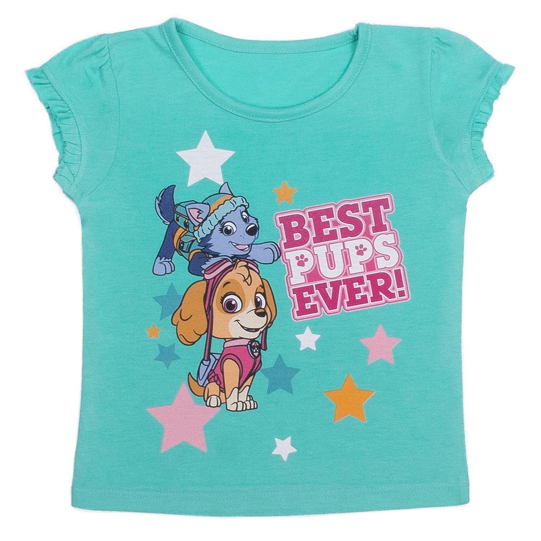 Paw Patrol - Toddler Girls Best Pups Ever Ruffle Sleeve T-Shirt, Bermuda Nickelodeon