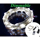 Zzmart Dimmable 12V 50ft 150 Leds String Lights - Waterproof Flexible Copper Wire, Holiday Decorative LED Lights for Outdoor and Indoor (White)