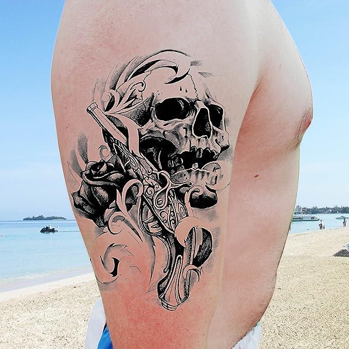 Grandes tatuajes temporales para hombres para hombres Chicos y adolescentes Pegatinas de tatuajes falsos (8 hojas) Transferencias para brazos Hombros ...