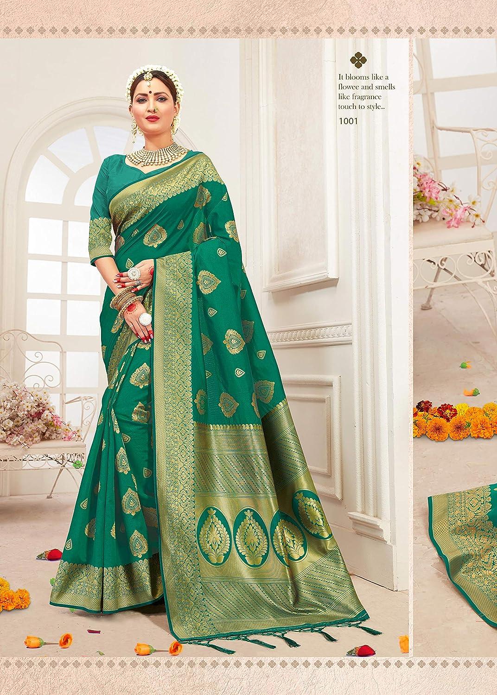 Style instantan/é Sarees pour Femme Banarasi Art Silk L Indian Rakhi Diwali Cadeau de Mariage Sari avec Chemisier Non Cousu