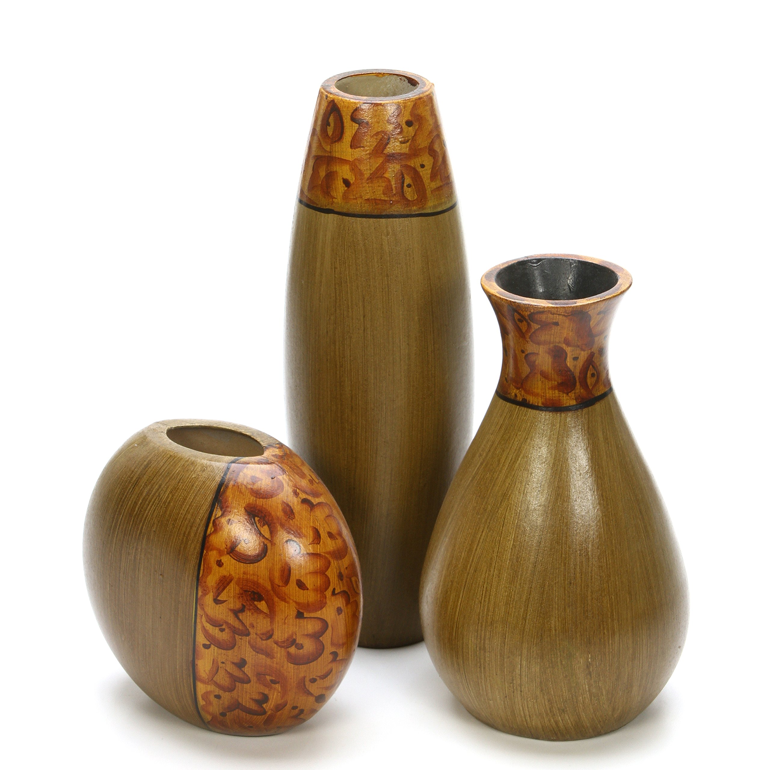 Hosley's Set of 3 Burlwood Vases. Ideal Gift for Wedding or Special Occasion and for Home Office, Decor, Floor Vases, Spa, Aromatherapy Settings O3 by Hosley (Image #6)