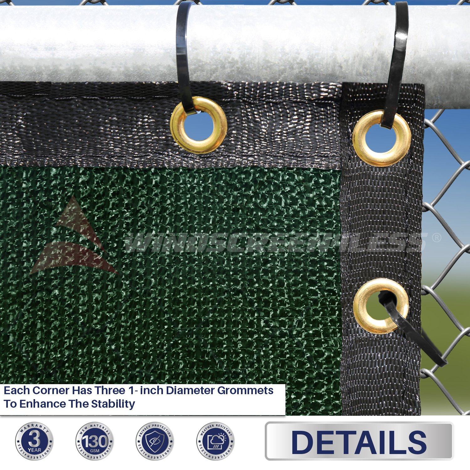 Windscreen4less Heavy Duty Privacy Screen Fence in Color Solid Green 4' x 50' Brass Grommets w/3-Year Warranty 150 GSM (Customized Sizes Available) by Windscreen4less (Image #2)