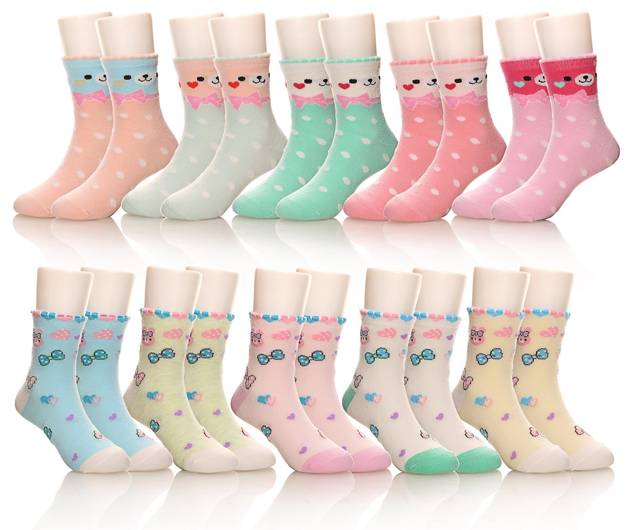 10 Pack Kids Girls Boys Toddler Little Socks Soft Cotton Cute Breathable Crew Socks (5-8 Years, Bear/Rabbit)
